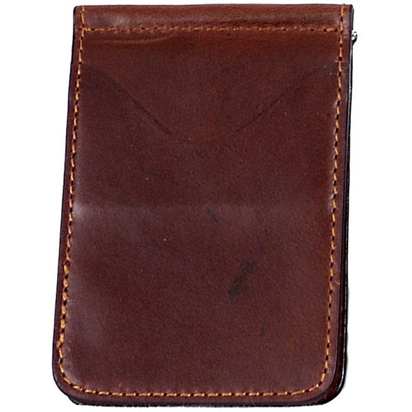Georgia Wallet Mens Casual Leather Money Clip Brass Cognac - One size