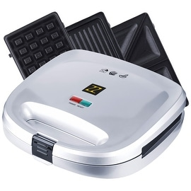 ZZ S6141B-S 3 in 1 Breakfast Sandwich and Waffle Press with 3 Sets of Detachable Non-stick Plates ,Silver