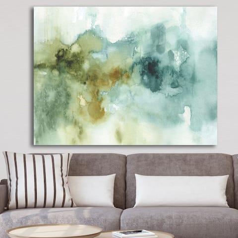Designart 'Abstract Watercolor Green House' Modern & Contemporary Canvas Art - Blue