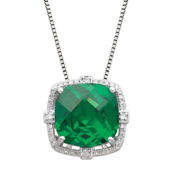 6 ct Created Emerald & 1/5 ct Diamond Pendant  in Sterling Silver - Green