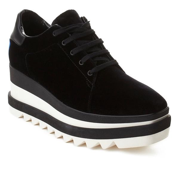 Stella McCartney Women's Velvet Platform Loafer Shoes Black