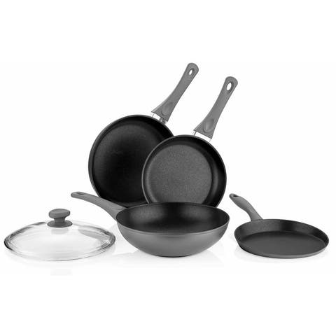5-Piece Titanium Non-Stick Cookware Set in Gray with Glass Lids