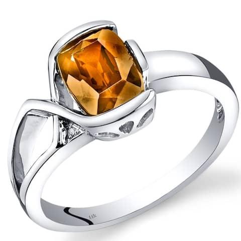 14 Karat White Gold Citrine Diamond Bezel Ring 1.26 Carats