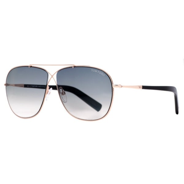 Tom Ford April TF393 28P Gold Grey Gradient Unisex Aviator Sunglasses - rose gold - 61mm-10mm-145mm