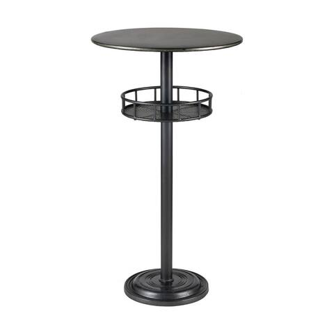 Round Bar Table Table in Dark Pewter Galvanized Steel finish with Pedestal Base - Material Metal