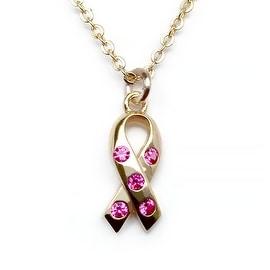 Julieta Jewelry Pink Ribbon CZ Charm Necklace