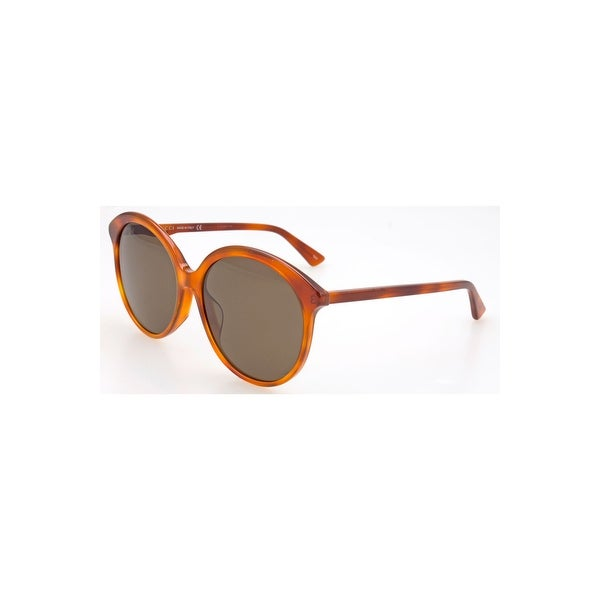 81c07a68df7 Shop Gucci Brown Round Sunglasses Gg0257Sa-002 59 - HAVANA-HAVANA-BROWN -  One Size - Free Shipping Today - Overstock - 24266466
