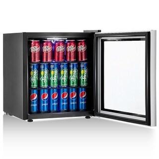 Gymax 60 Can Beverage Refrigerator Beer Wine Soda Drink Cooler Mini Fridge Glass Door