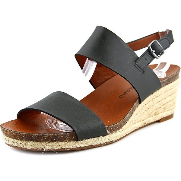 Lucky Brand Jette Women Open Toe Leather Black Wedge Sandal