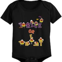 Trick or Treat Cute Candy Corn Baby Snap On One Piece Infant Black one pieces for Halloween