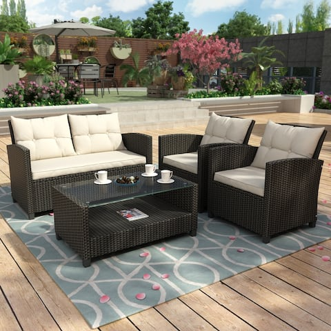 Outdoor Dining Set with Storage Glass Coffee Table,Wicker Sofa