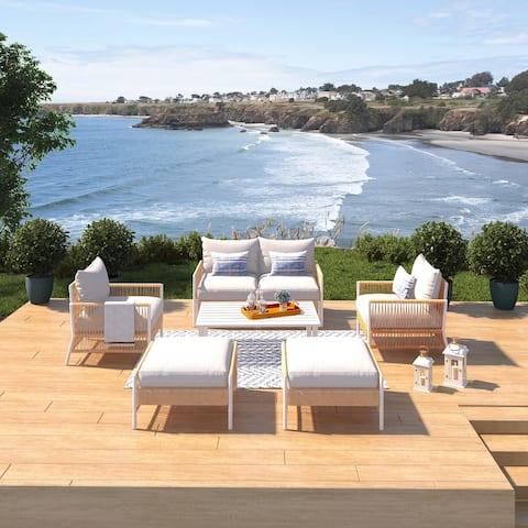 Olivia Ivory 7 Piece Outdoor Roped Wicker Sofa Set
