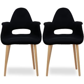 2xhome - Set of Two (2) - Black - Upholstered Organic Arm Chair Armchair Fabric Chair Black with Light brown Natural Wood Legs