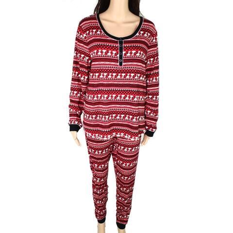 Peanuts Womens Sleepwear Red Size Small S Snoopy Fair Isle Pajama Sets