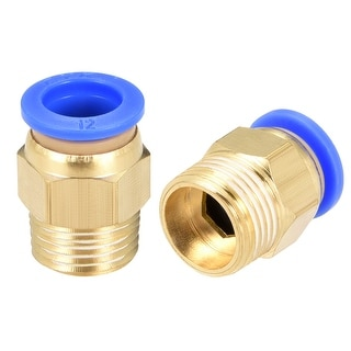 """8 Pcs 3/8"""" G Male Straight Thread 12mm Push In Joint Pneumatic Quick Fittings - 15/32"""" OD x 3/8"""" G"""