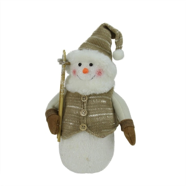"10"" Alpine Chic Brown and Beige Snowman with Ski Poles and Mistletoe Christmas Decoration"