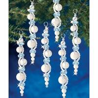 Pearl Icicles Makes 6 - Holiday Beaded Ornament Kit