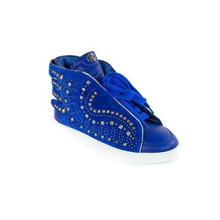 Roberto Cavalli Electric Blue Leather Studed Sneakers Shoes