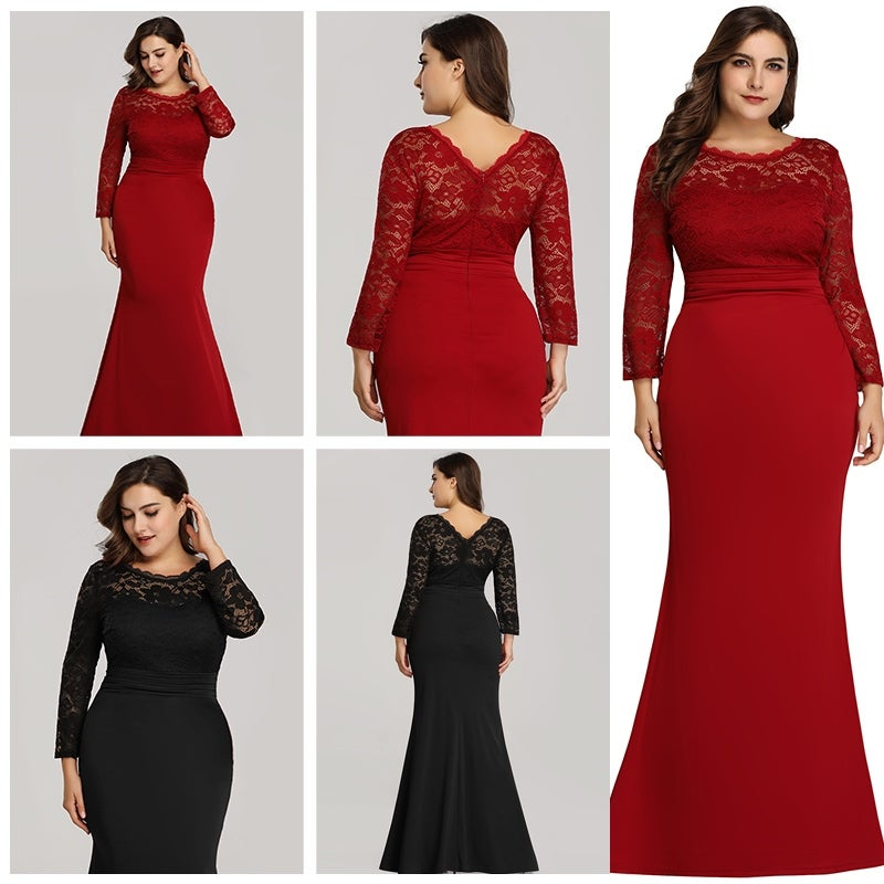 Ever-Pretty Womens Plus Size Mermaid Long Sleeve Formal Evening Prom Party  Dress 07668