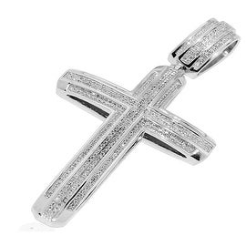 Mens Diamond Cross Pendant 1.1cttw Diamonds Pave Set 60mm Tall By MidwestJewellery - White