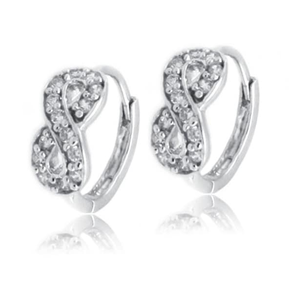 Sterling Silver Cubic Zirconia Infinity Hoop Earrings - 10mm Diameter