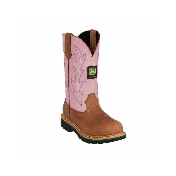 John Deere Work Boots Womens Round Toe Wellington Tan Pink