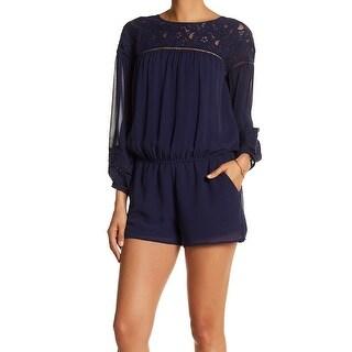 Joie Deep Blue Womens Size XS Floral-Lace Yoke Blouson Romper