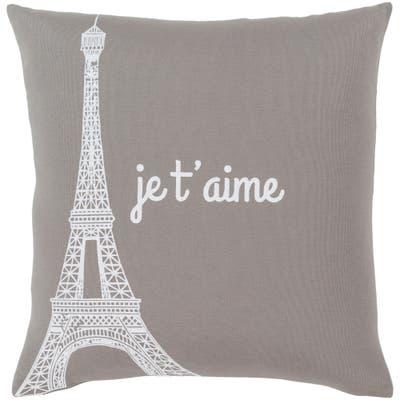 "Ariella Medium Grey ""Je t'aime"" Feather Down Throw Pillow (20"" x 20"")"