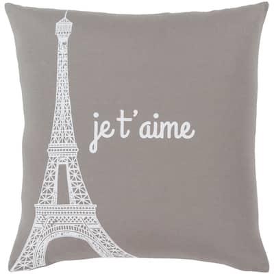 "Ariella Medium Grey ""Je t'aime"" Feather Down Throw Pillow (22"" x 22"")"