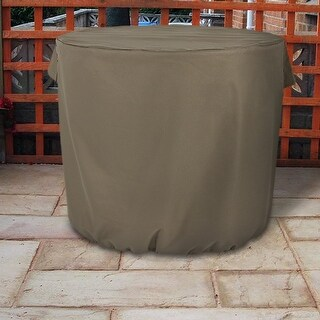 Sunnydaze Heavy-Duty Khaki Round Protective Air Conditioner Cover - 34 X 30-Inch