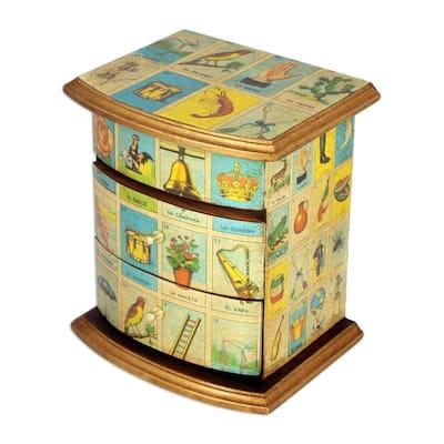 NOVICA Handmade Mexican Loteria Decoupage Jewelry Box (Mexico)