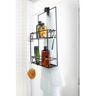 """Umbra 023461  Cubiko 24"""" Tall Steel Shower Caddy with Two Shelves by Wesley Chau - Black"""