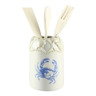 Blue Crab Starfish Coastal Ceramic Kitchen Utensils Tool Holder With Tools