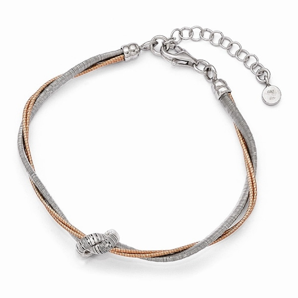 Italian Sterling Silver Rose Gold-plated 7.5in/1in Ext Bracelet - 7.5 inches