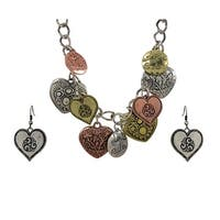 Tri Tone Bib Heart Charm Necklace and Earring Set