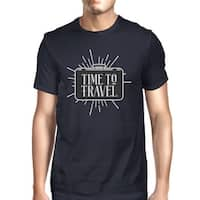 Time To Travel Mens Navy Crewneck Cotton Tee Shirt Gift For Summer
