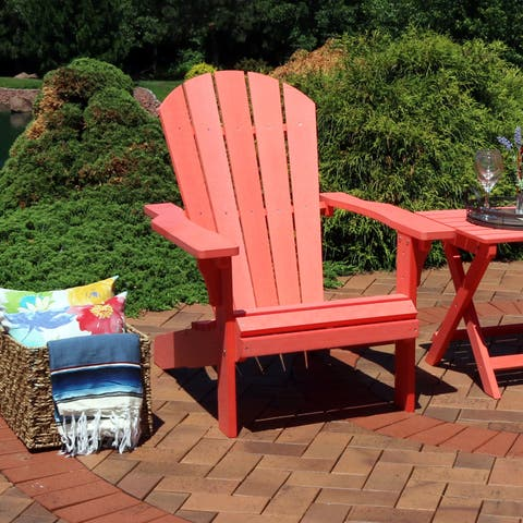 Sunnydaze All-Weather Patio Adirondack Chair with Faux Wood Design - Salmon - Single Chair