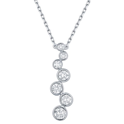 Prism Jewel 0.45CT Round G-H/I1 Natural Diamond 7-Stone Neckalce with Chain