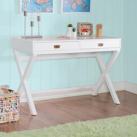 Poppy White X-base Writing Desk