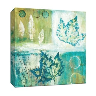 """PTM Images 9-147507  PTM Canvas Collection 12"""" x 12"""" - """"Teal Earth II"""" Giclee Leaves Art Print on Canvas"""