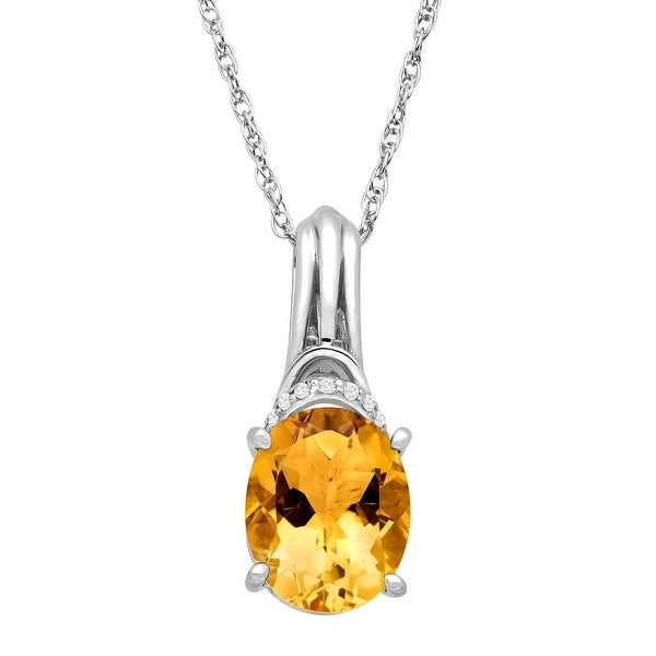 2 1/5 ct Natural Citrine & 1/10 ct Diamond Pendant in Sterling Silver - Yellow