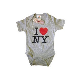I Love NY New York Baby Infant Screen Printed Heart Bodysuit Gray Medium 12 M...