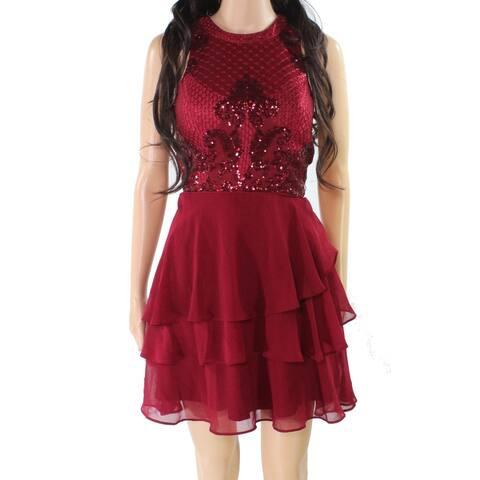 City Studio Dress Burgundy Red Size 0 Junior Sheath Flutter Sequin