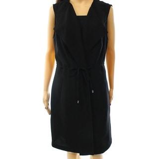 INC NEW Black Women's Size Large L Open-Front Belted Jacket Vest