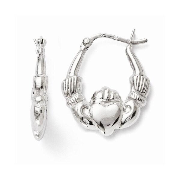 Sterling Silver Polished Claddagh Hinged Hoop Earrings