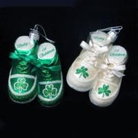 "Pack of 8 Noble Gems Glass ""Baby's 1st Christmas"" Irish Baby Booties Ornaments 3.5"" - green"