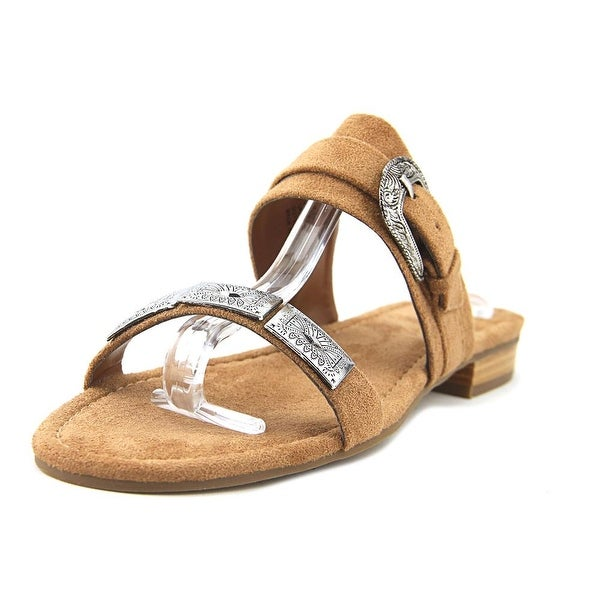 Coconuts By Matisse Brantly Women Open Toe Canvas Tan Slides Sandal