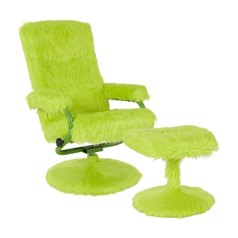 Offex East Side Contemporary Swivel Recliner and Ottoman in Citrus Green Fur