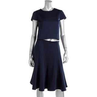 Eliza J Womens 2PC Cap Sleeves Crop Top Dress - 8