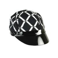August Accessories Women's Printed Patent Cabbie Hat - os
